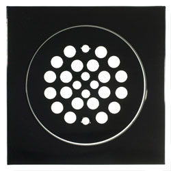 Gloss Black finished shower pan drain cover