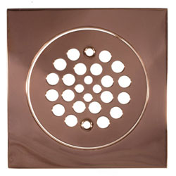 polished copper drain cover