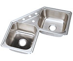Stainless steel corner kitchen sink
