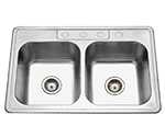 Stainless double bowl ADA compliant drop-in sink