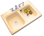 SolidCast double bowl acrylic kitchen sink