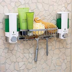 Aviva soap dispenser with shower caddy basket installed