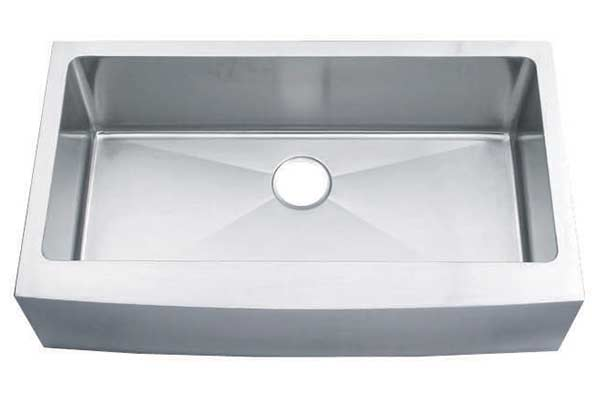 Large stainless steel apron front kkitchen sink