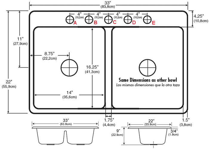 view dimensions faucet hole configuration - Kitchen Sinks Dimensions