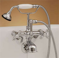 Example of an installed P0146 clawfoot tub faucet, shown in chrome