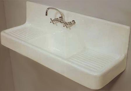 5 Foot Long Wall Mounted Drainboard Kitchen Sink
