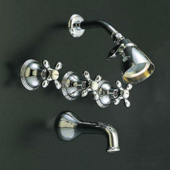 St. Lawrence old-fashioned tub and shower set in chrome