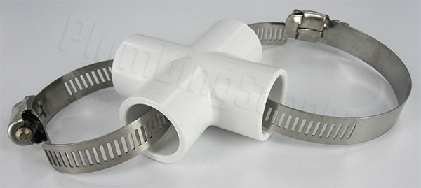 1/2 inch PVC cross with stainless clamps passing through