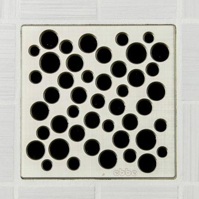Bubble pattern square shower drain in brushed nickel