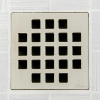 Classic pattern square shower drain in brushed nickel