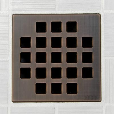 Classic pattern square shower drain in oil rubbed bronze