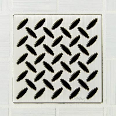 Diamond pattern square shower drain in brushed nickel