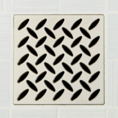 Diamond pattern square shower drain in satin nickel