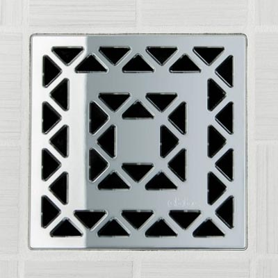 Lattice pattern square shower drain in polished chrome