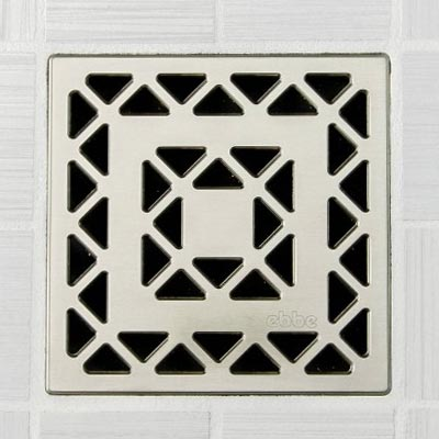 Lattice pattern square shower drain in satin nickel