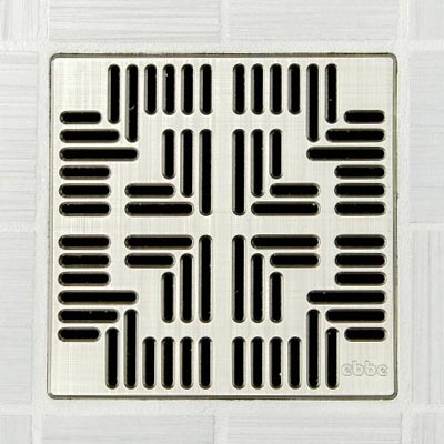 Navajo pattern square shower drain in brushed nickel
