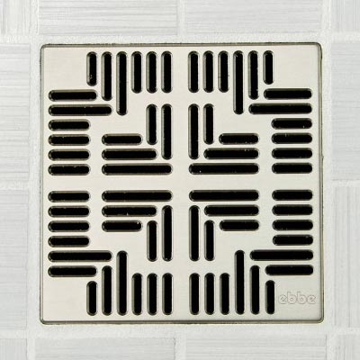 Navajo pattern square shower drain in satin nickel