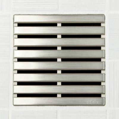 Parallel pattern square shower drain in brushed nickel