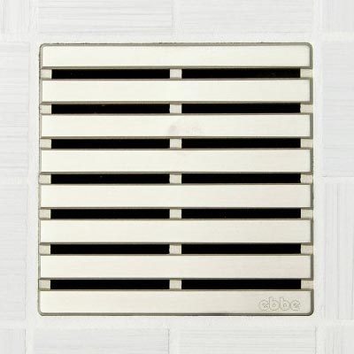 Parallel pattern square shower drain in satin nickel