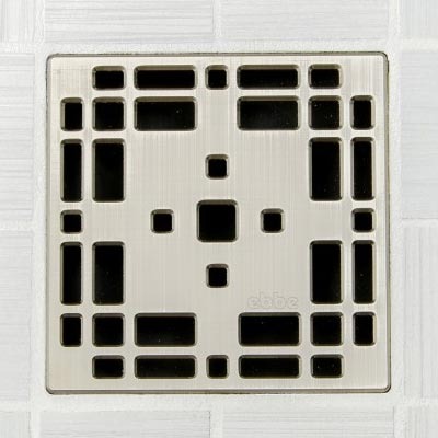 Prairie pattern square shower drain in brushed nickel