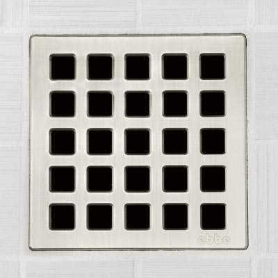 Quadra pattern square shower drain in brushed nickel