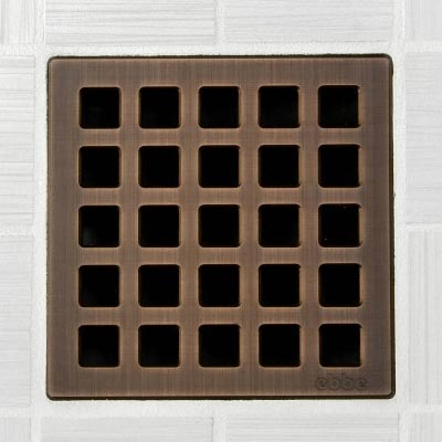Quadra pattern square shower drain in oil rubbed bronze