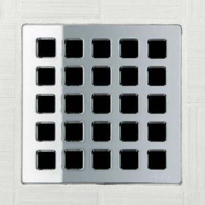 Quadra pattern square shower drain in polished chrome