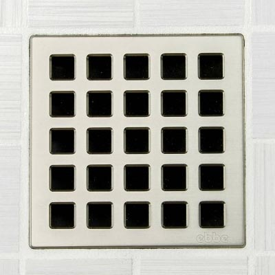 Quadra pattern square shower drain in satin nickel
