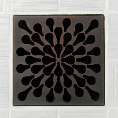 Splash pattern square shower drain in oil rubbed bronze