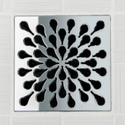 Splash pattern square shower drain in polished chrome