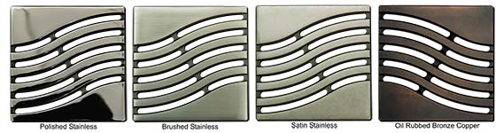 Tsunami pattern square shower drains