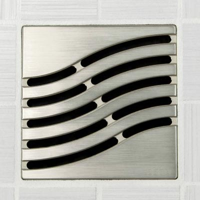 Tsunami pattern square shower drain in brushed nickel