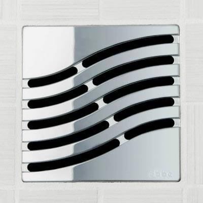 Tsunami pattern square shower drain in polished chrome