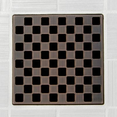 Weave pattern square shower drain in oil rubbed bronze