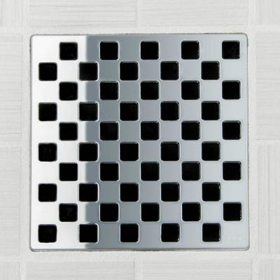Weave pattern square shower drain in polished chrome