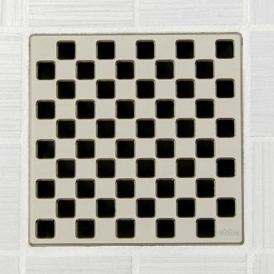 Weave pattern square shower drain in satin nickel