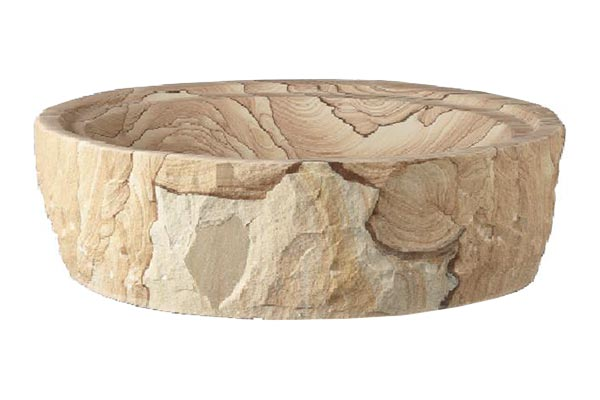 Barclay Mesquite chiseled sandstone above counter sink