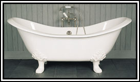 picture of a Lion foot cast iron clawfoot tub, shown in white