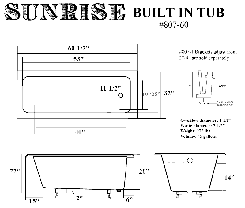 Built in cast iron bathtubs for Built in tub dimensions