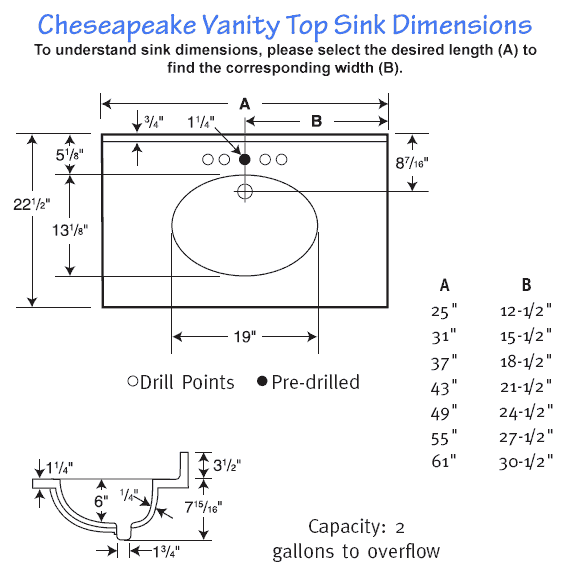 Bathroom Sink Sizes : ... in more spacious bathrooms View detailed Chesapeake sink dimensions