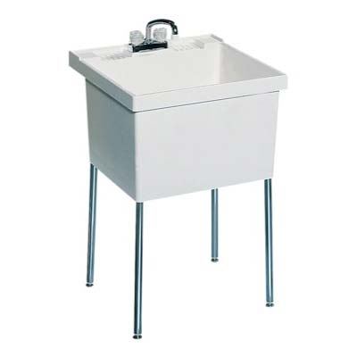 Stainless Steel Laundry Tub With Legs : Stainless Steel Drop-In Laundry Sinks with Faucet Holes