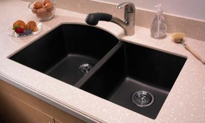 Undermount Installation Quartz Sink Qudb 3322 Double Bowl Kitchen Sink