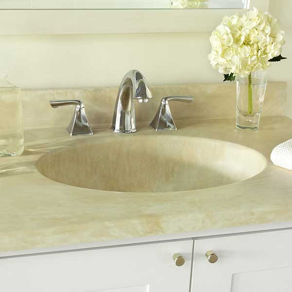 Swanstone vanity sink in Golden Steppe