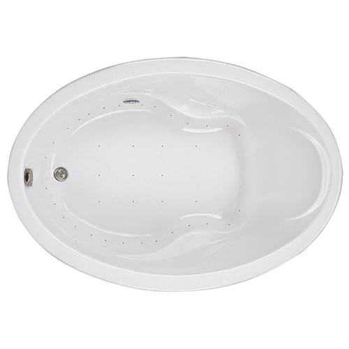 Swirl-Way Elba oval-shaped bathtub shown as air massage bath