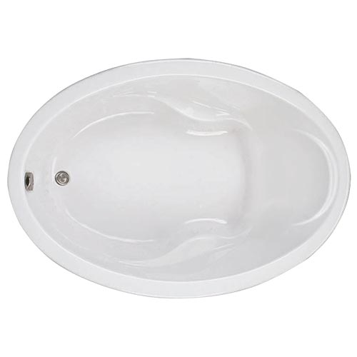 Swirl-Way Elba oval-shaped bathtub shown as soaker