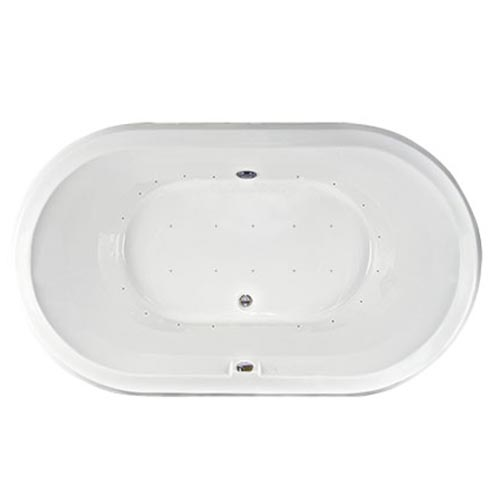 Swirl-Way Enso oval bathtub shown as air massage bath