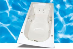 picture of the Swirl-way Baywood jetted tub, shown in white