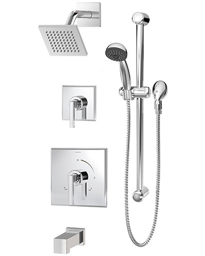 Complete Duro shower/handshower system in chrome