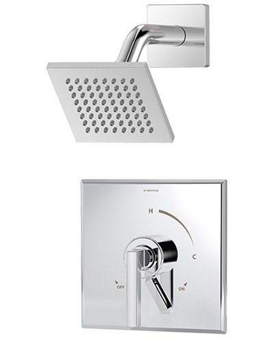 Pressure balance Duro shower system, shown in chrome