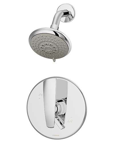 Picture of a pressure balance Naru shower system, shown in chrome